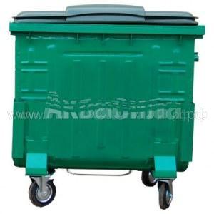 Мусорный контейнер окрашенный с пластиковой крышкой с педалью 1100 л   Мусорные баки, контейнеры и тележки для дворников   Урны, пепельницы, корзины, тележки и баки для мусора