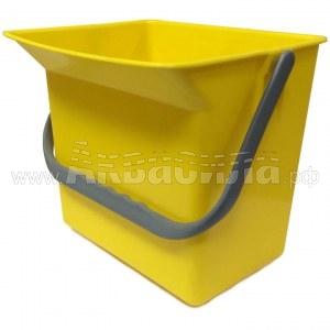 Euromop Пластиковое ведро 6 л (желтое) | Ведра пластиковые для уборочных тележек | Уборочные тележки и вёдра на колёсах