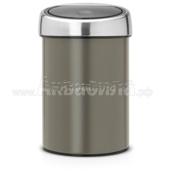 Brabantia Урна Touch Bin 3 л (платина)   Вёдра и урны для мусора   Урны, пепельницы, корзины, тележки и баки для мусора