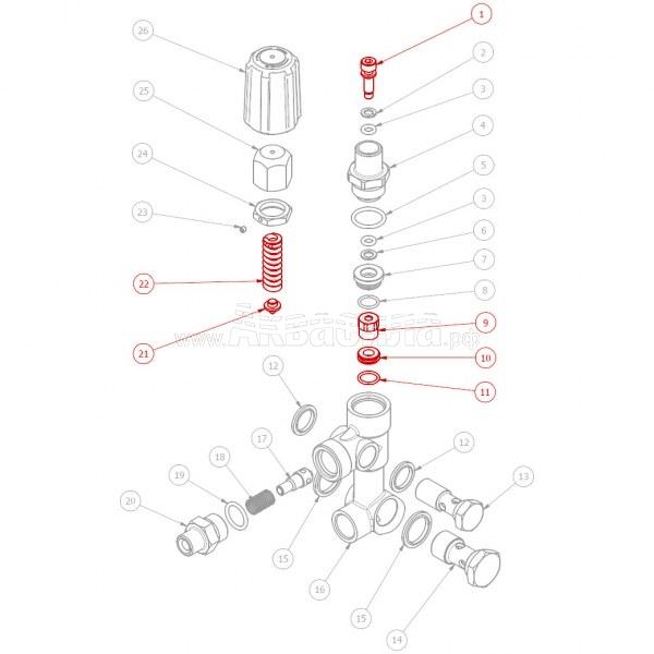 Hawk Ремкомплект поршня для регулятора давления VBA | Запчасти и ремкомплекты для аппаратов высокого давления | Аксессуары и комплектующие