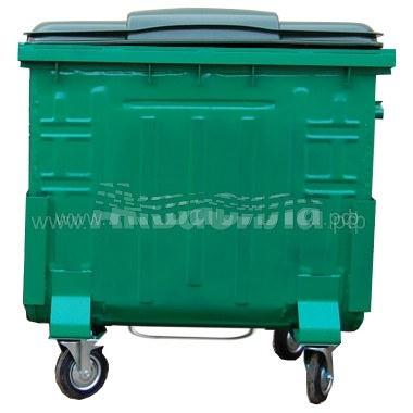 Мусорный контейнер окрашенный с пластиковой крышкой с педалью 1100 л | Мусорные баки, контейнеры и тележки для дворников | Урны, пепельницы, корзины, тележки и баки для мусора