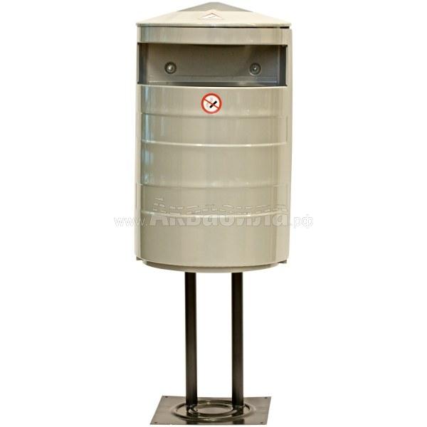 Darba Spars Мусорная урна с пепельницей на штативе 35 л (оцинкованная) | Уличные урны | Урны, пепельницы, корзины, тележки и баки для мусора