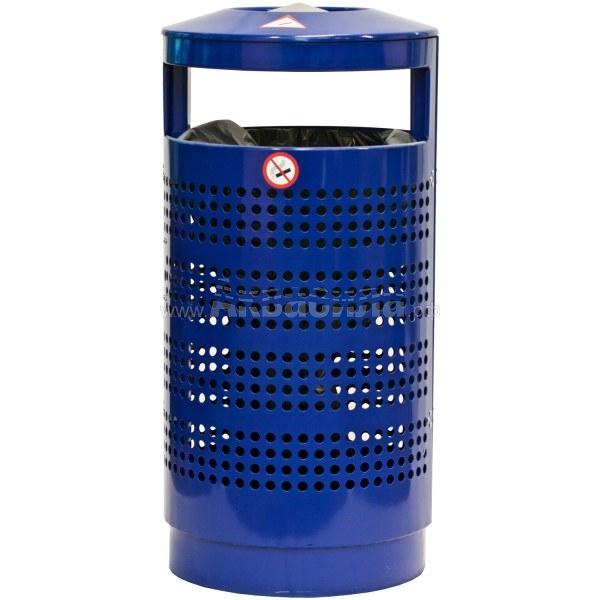 Darba Spars Перфорированная мусорная урна с пепельницей 70 л (оцинкованная) | Урны пепельницы напольные | Урны, пепельницы, корзины, тележки и баки для мусора