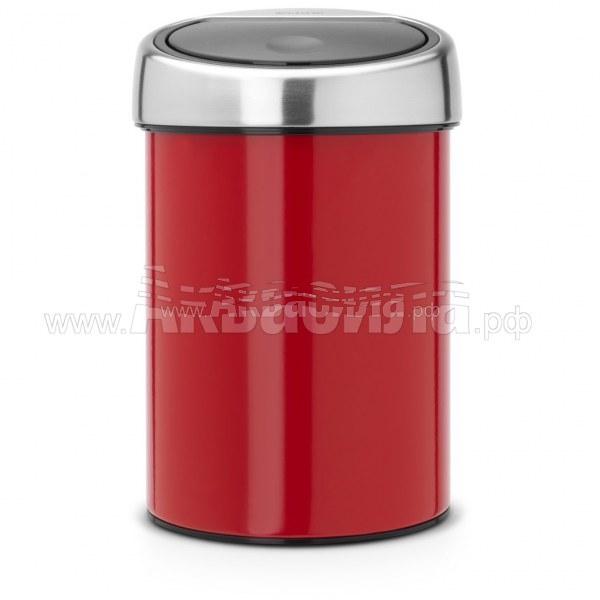Brabantia Урна Touch Bin 3 л (красная) | Вёдра и урны для мусора | Урны, пепельницы, корзины, тележки и баки для мусора