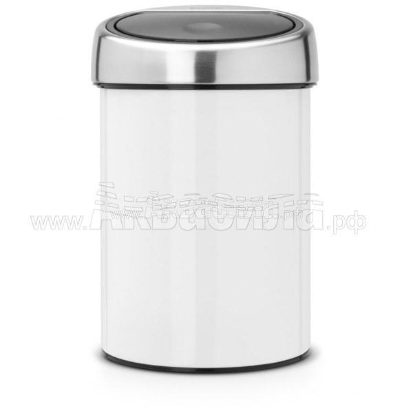 Brabantia Урна Touch Bin 3 л (белая) | Вёдра и урны для мусора | Урны, пепельницы, корзины, тележки и баки для мусора