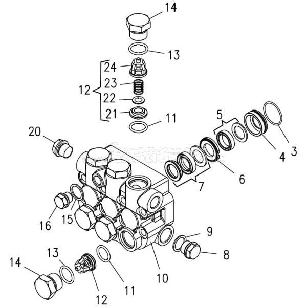 Hawk Комплект клапанного блока (серия HD 170 бар) | Запчасти и ремкомплекты для аппаратов высокого давления | Аксессуары для аппаратов высокого давления