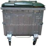 Мусорный контейнер оцинкованный с пластиковой крышкой с педалью 1100 л